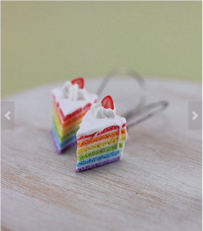 Rainbow Cake earrings by shayaaron
