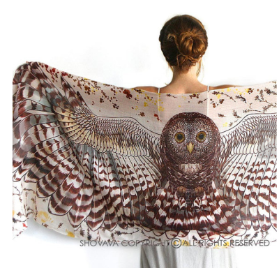 Silk Cotton Owl Scarf from Shovava