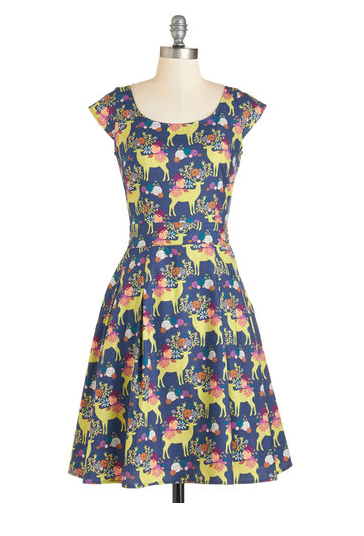 Prancing in the Reindeer dress by Modcloth